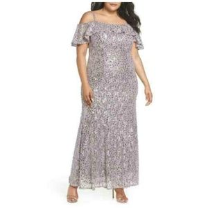 Night Way Gown Sequined Lace Dress Cold Shoulder